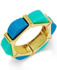 Abs By Allen Schwartz Gold Tone Blue And Aqua Multi Colored Stretch Bracelet Blue Aqua Multi