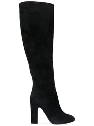 Dolce And Gabbana Mid Calf Boots Women Calf Leather Leather Suede 35 Black