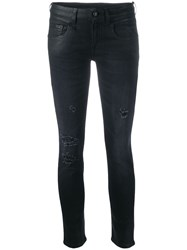 R 13 R13 Low Rise Coated Skinny Jeans Black