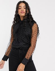 Parisian Pussybow Blouse In Spotty Organza Black