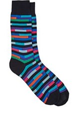 Richard James Broken Stripe Mid Calf Socks Blue