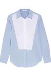 Tome Open Back Two Tone Cotton Poplin Shirt Sky Blue