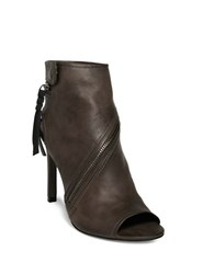 Dolce Vita Hal Leather Stiletto Heel Boots Charcoal Grey