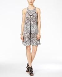 Rachel Roy Sleeveless Geo Trapeze Dress Black White