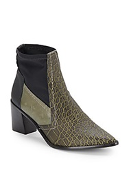 Tibi Spencer Crocodile Embossed Leather Ankle Boot Olive