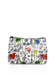 Alice Olivia Stace Face Cotton Canvas Pouch White Multi