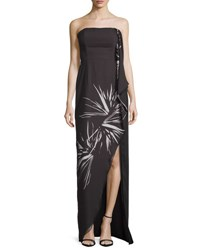 Halston Strapless Draped Floral Gown Black Glowing Spark Blk Glowing Spark