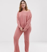 Asos Design Curve Lounge Knitted Rib Flare Trouser Dusty Pink