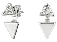 Rebecca Minkoff Double Triangle Front To Back Earrings Imitation Rhodium Crystal Earring Silver
