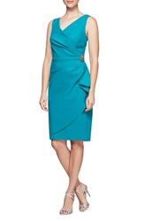 Alex Evenings Side Ruched Dress Turquoise
