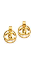 Wgaca Vintage Chanel Cc Circle Earrings Gold
