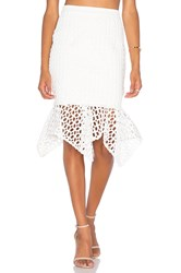 Aijek Doubleday Embroidered Handkerchief Skirt White