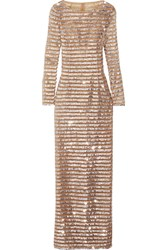 Michael Kors Collection Sequin Embellished Tulle Gown Silver