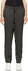 Won Hundred Black And White Satin Bandy New Stripe Trousers