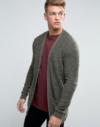 New Look Fluffy Cardigan In Khaki Khaki Green