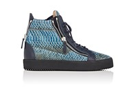 Giuseppe Zanotti Men's Stamped Leather Double Zip High Top Sneakers Blue Dark Green Gold
