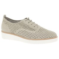 Gabor Castellian Perforated Wedge Heeled Brogues Beige