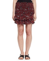 Etoile Isabel Marant Afos Floral Tiered Flounce Skirt Burgundy Gray