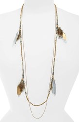 Panacea Double Layer Feather Necklace Grey