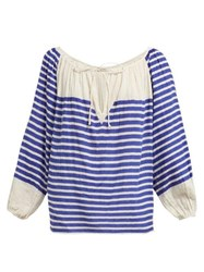 Mes Demoiselles Bretonne Striped Cotton Blouse Blue Stripe