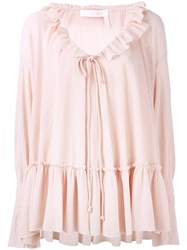 See By Chloe Pleated Blouse Women Cotton Polyester 40 Pink Purple