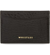 Whistles Crocodile Embossed Leather Card Holder Black