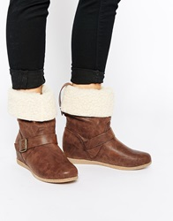 Miss Kg Harvey Sheepskin Cuff Wedge Ankle Boots Tansynthetic