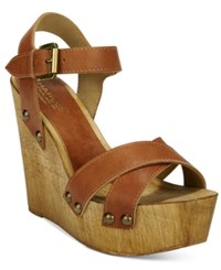 Charles By Charles David Munich Wooden Wedge Sandals Women's Shoes Camel
