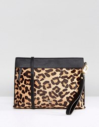 Dune Leopard Print Clutch Bag With Crossbody Strap Multi