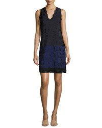 3.1 Phillip Lim Sleeveless Lace Colorblock Shift Dress Medium Blue