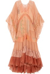 Chloe Ruffled Printed Silk Mousseline And Tulle Maxi Dress Blush