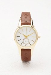 Forever 21 Southwestern Patterned Faux Leather Watch Brown Gold