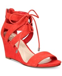 Alfani Women's Karlii Lace Up Wedge Sandals Only At Macy's Women's Shoes Persimmon