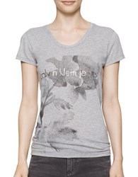 Calvin Klein Flower Logo Cotton Tee Light Grey