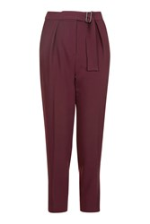 Topshop Petite Belted Peg Trousers Oxblood