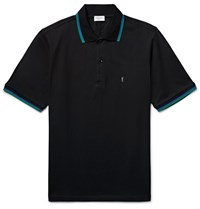 Saint Laurent Contrast Tipped Cotton Pique Polo Shirt Black