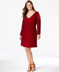 Love Squared Plus Size Cold Shoulder Peasant Dress Wine