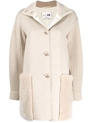Manzoni 24 Cable Knit Sleeve Coat Neutrals