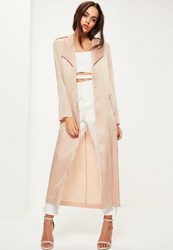 Missguided Nude Satin Tie Waist Duster Coat Champagne