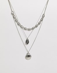 New Look Layered Shell Necklace In Silver Gold