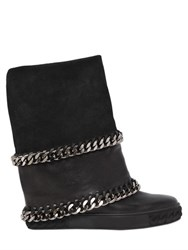 Casadei 90Mm Chains Leather And Suede Sneakers