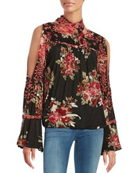 Free People Floral Knit Shirt Black