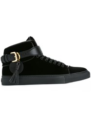 Buscemi Velvet Buckled Hi Top Sneakers Black