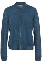Majestic Filatures Paneled Linen And Perforated Suede Jacket Storm Blue