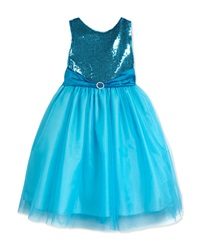 Susanne Lively Sleeveless Sequin And Tulle Party Dress Aqua