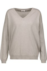 Brunello Cucinelli Beaded Cashmere Sweater Stone
