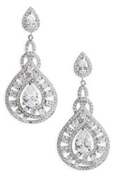Nina Women's Glamorous Drop Earrings Silver