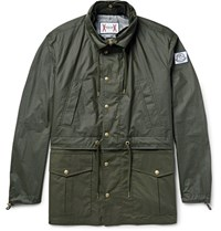 Moncler Gamme Bleu Waxed Cotton Hooded Parka Dark Green