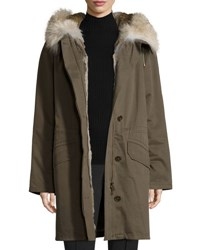 Army By Yves Salomon Classic Parka W Fox And Rabbit Fur Trim Olive