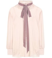 See By Chloe Crepe Georgette Blouse With Velvet Pussy Bow Pink